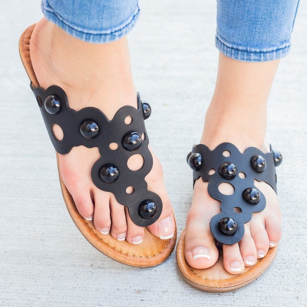 Womens Laser-Cut Bubble Sandals - Weeboo - Black / 11