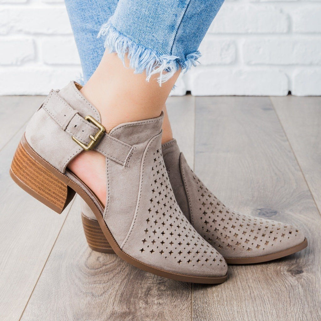 Womens Laser-Cut Buckle Booties - Qupid Shoes