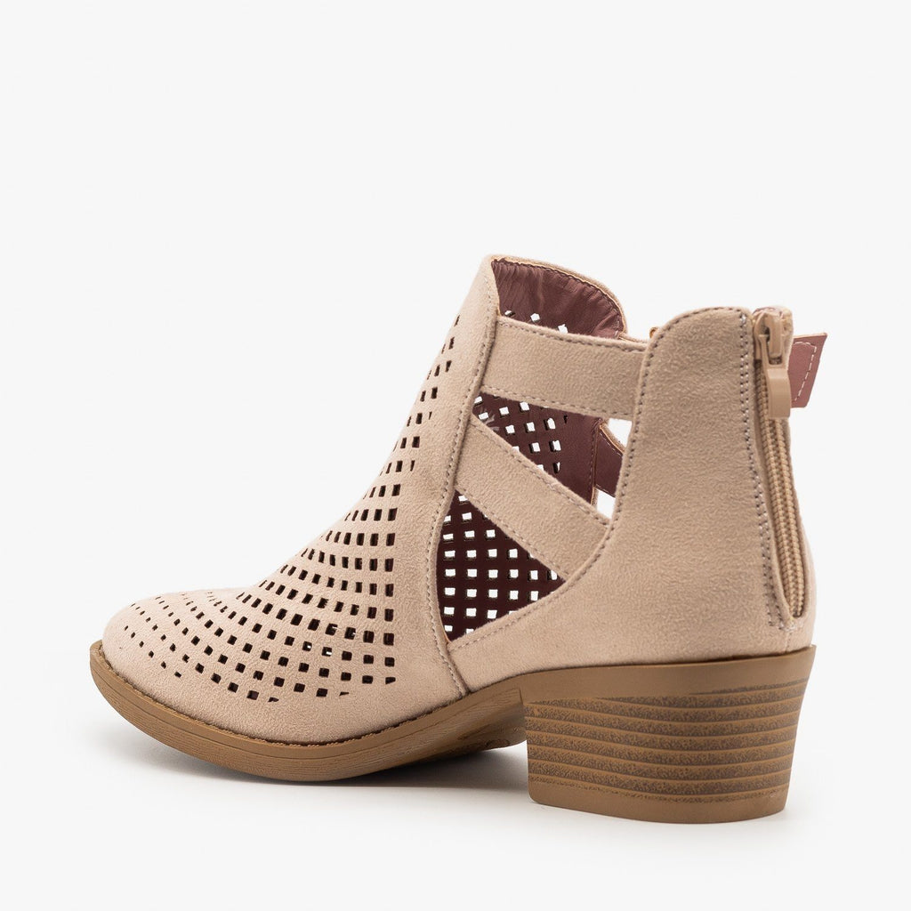 Womens Laser Cut Caged Booties - ARider Girl