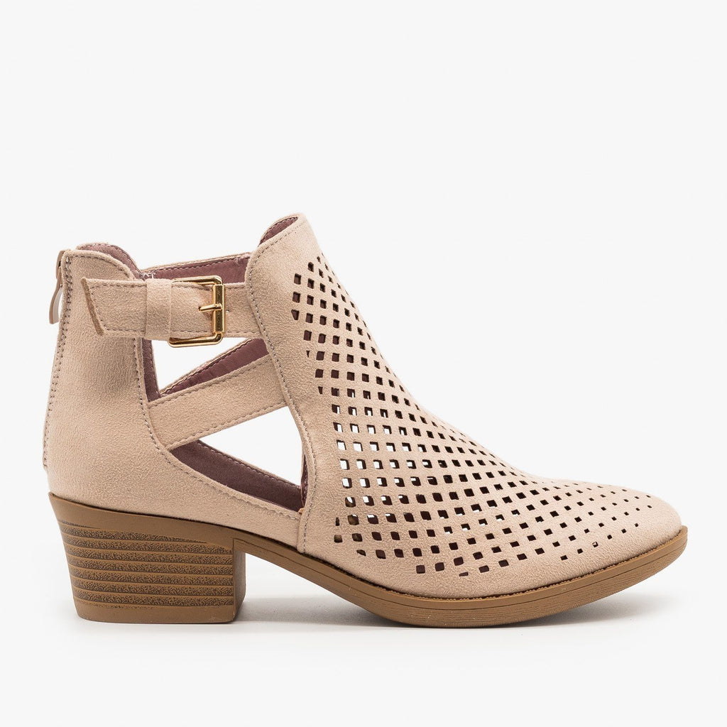 Womens Laser Cut Caged Booties - ARider Girl - Mauve / 5