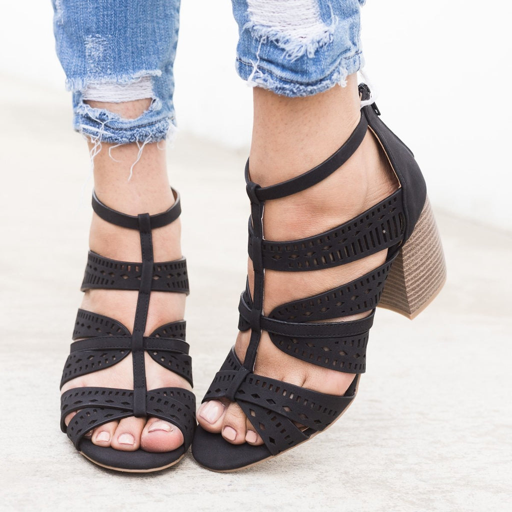 Women's Laser Cut Caged Sandals - Qupid Shoes