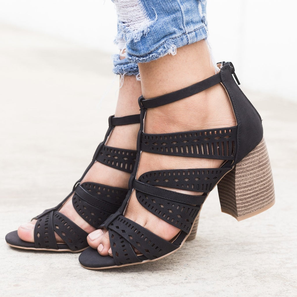 Women's Laser Cut Caged Sandals - Qupid Shoes - Black / 5