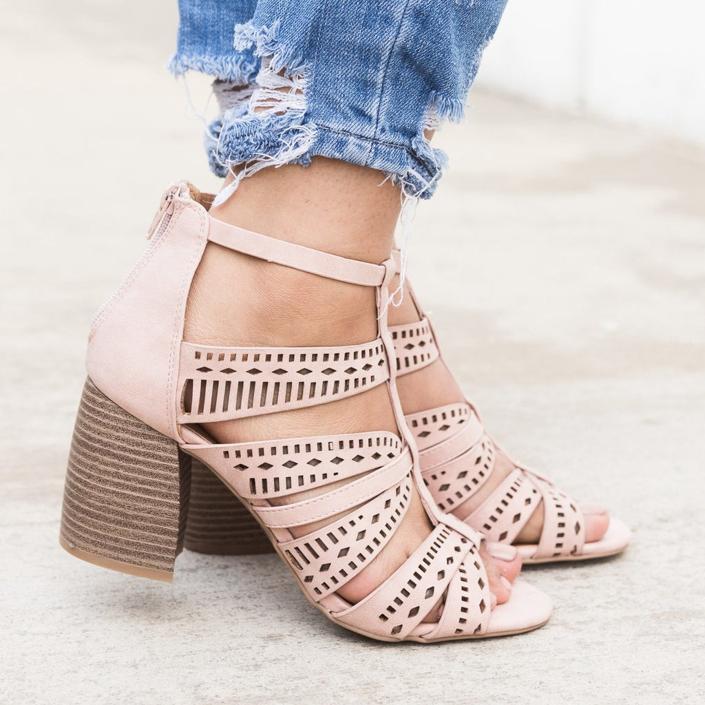 Women's Laser Cut Caged Sandals - Qupid Shoes - Blush / 5