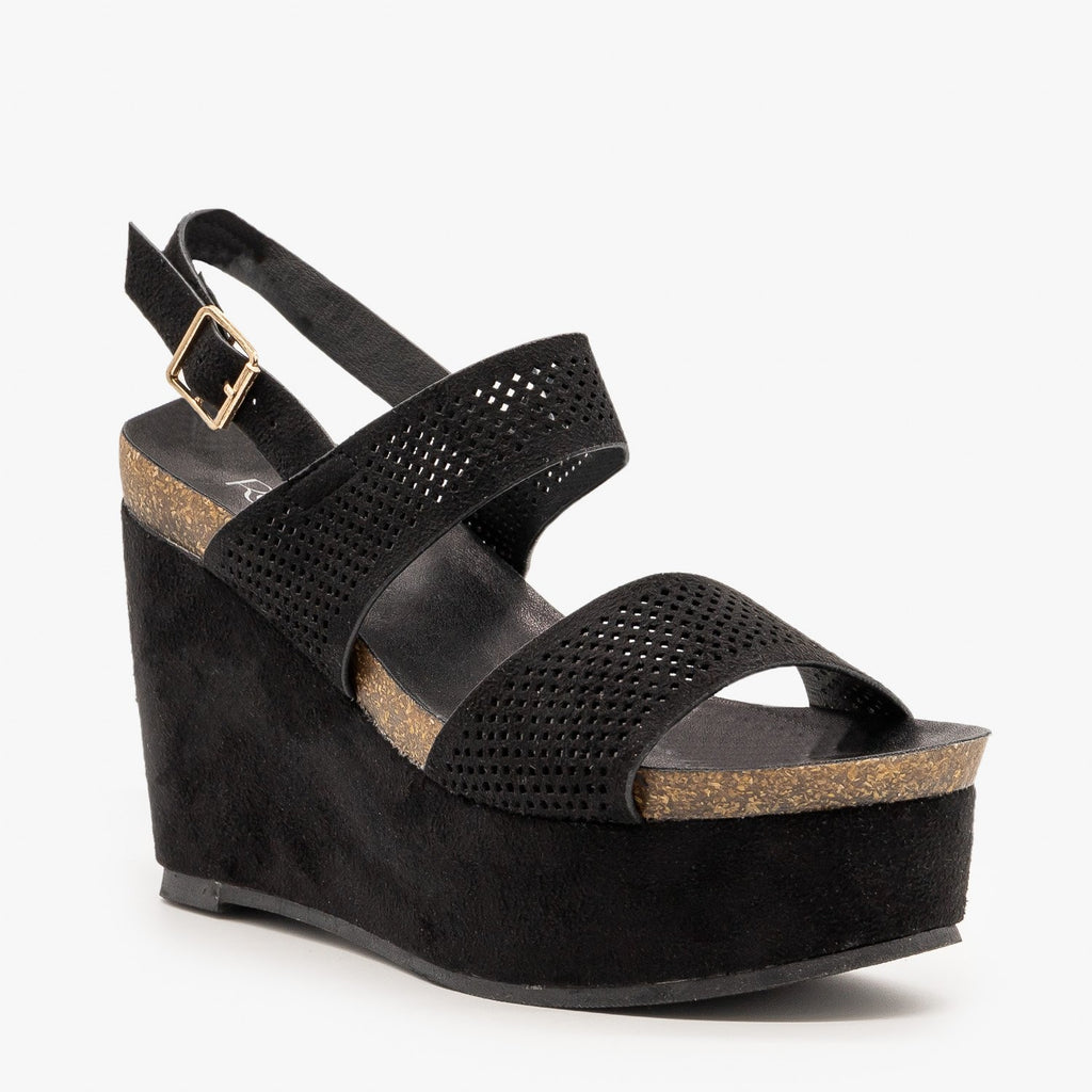 Womens Laser Cut Cork Platform Wedges - Refresh - Black / 5