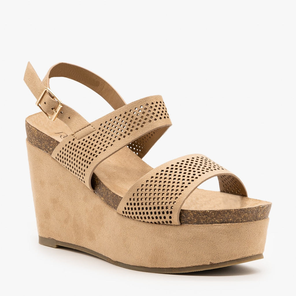 Womens Laser Cut Cork Platform Wedges - Refresh - Taupe / 5