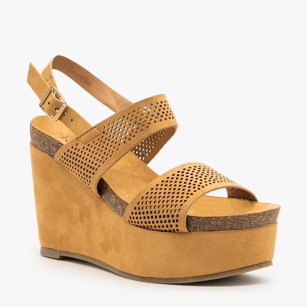 Womens Laser Cut Cork Platform Wedges - Refresh - Camel / 5