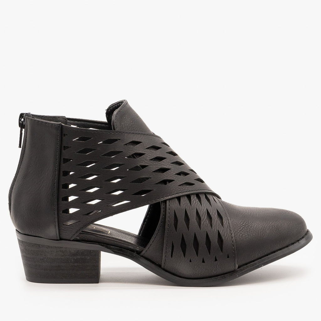 Womens Laser Cut Criss Cross Booties - Yoki - Black / 5