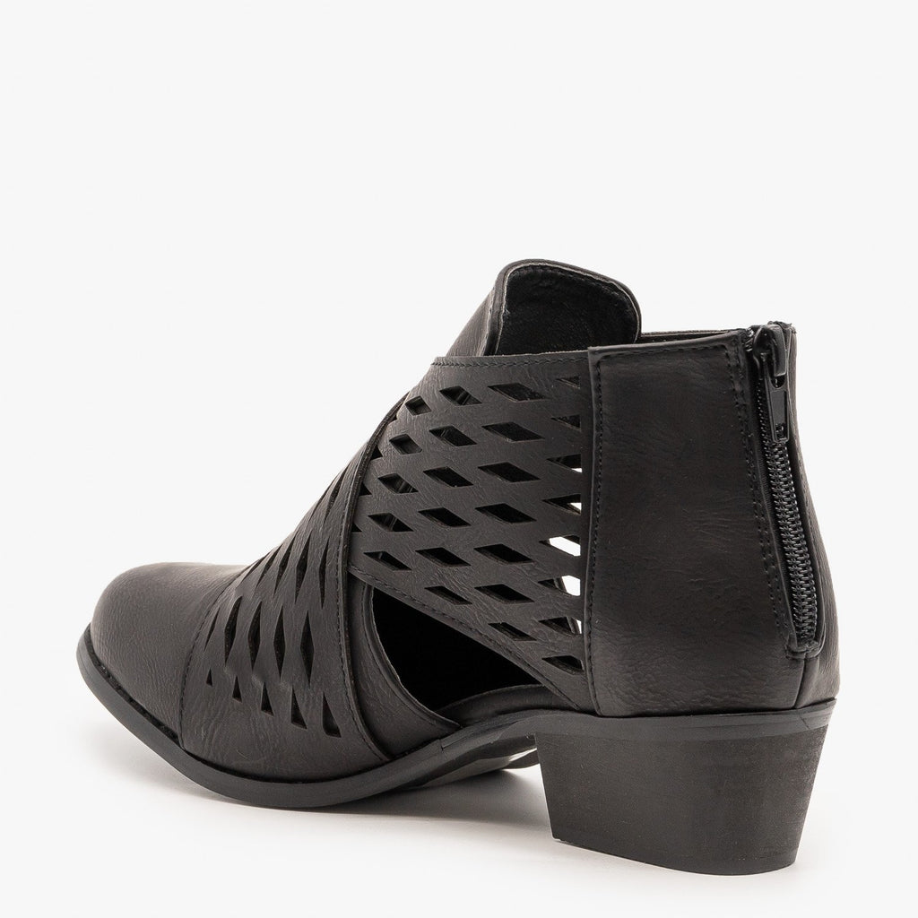 Womens Laser Cut Criss Cross Booties - Yoki
