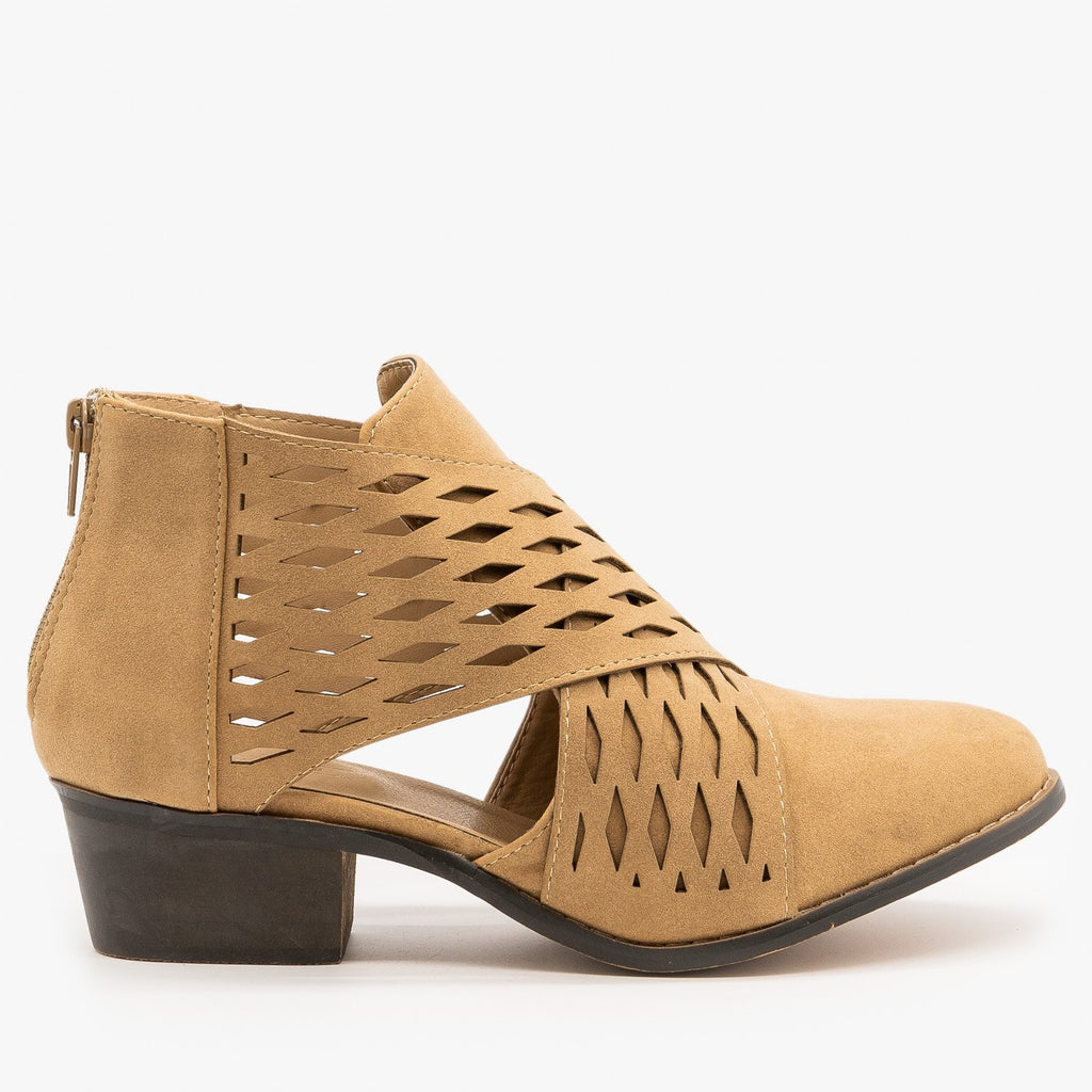 Womens Laser Cut Criss Cross Booties - Yoki - Beige / 5