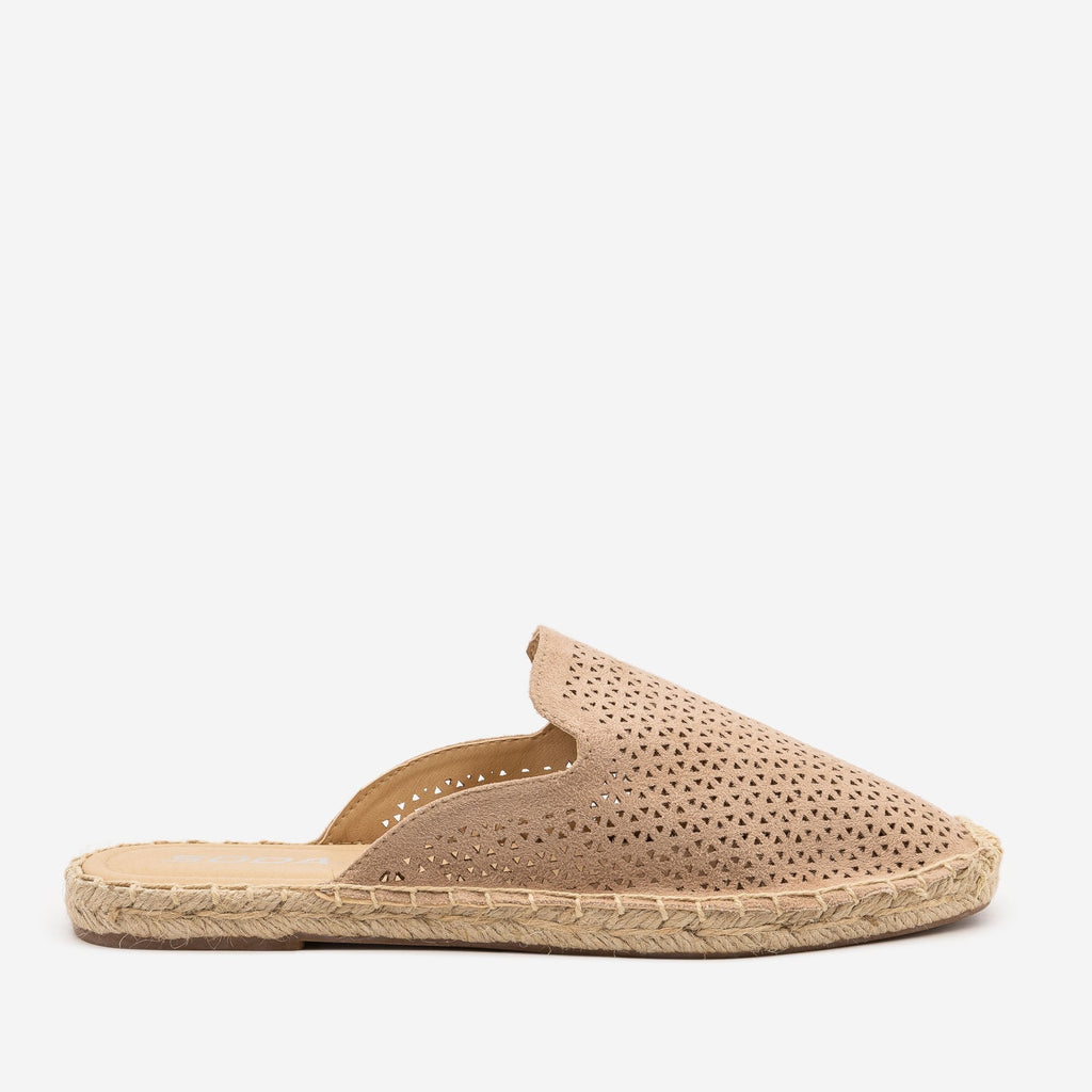 Women's Laser Cut Espadrille Mules - Soda Shoes