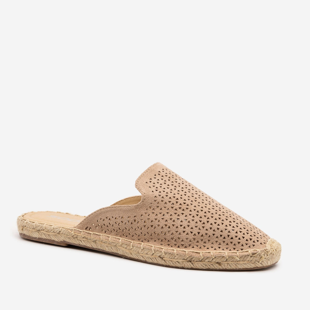Women's Laser Cut Espadrille Mules - Soda Shoes - Taupe / 5