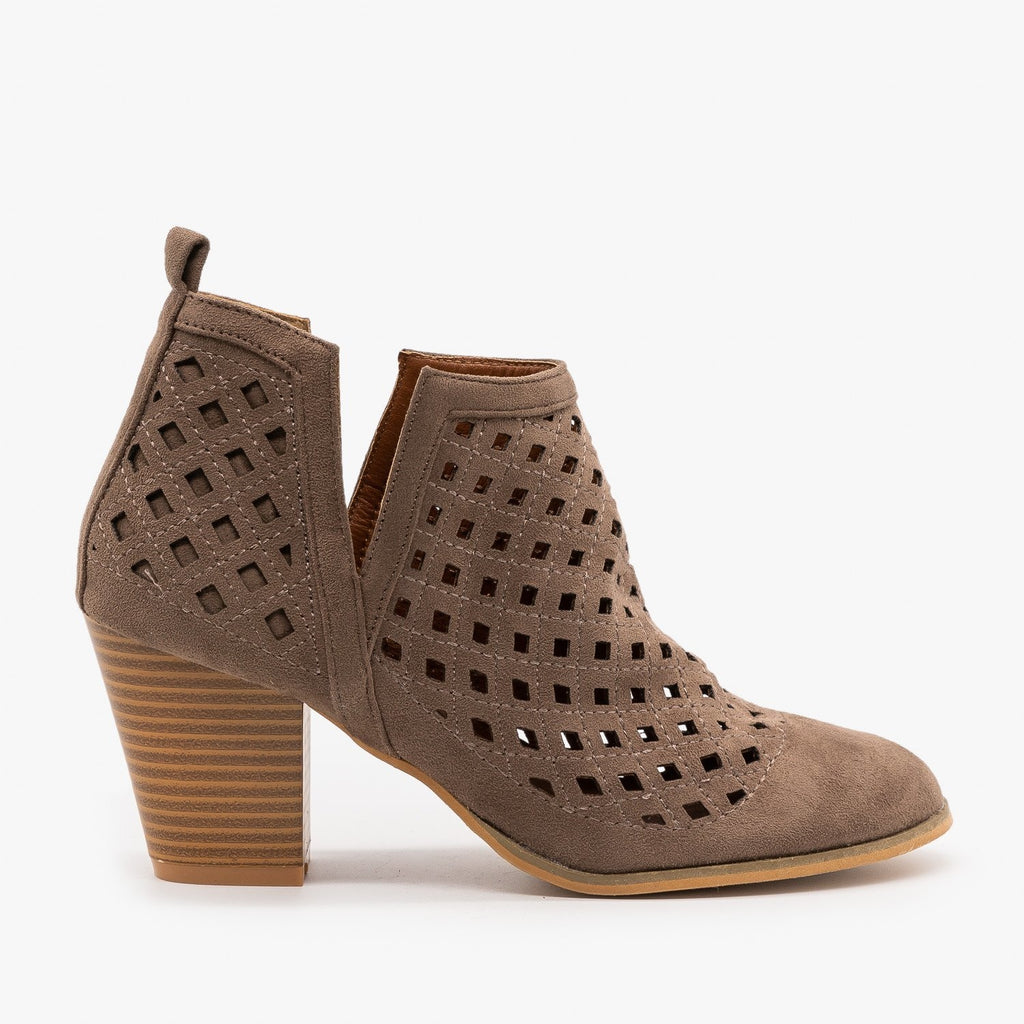Womens Laser Cut Fall Booties - Weeboo - Taupe / 5
