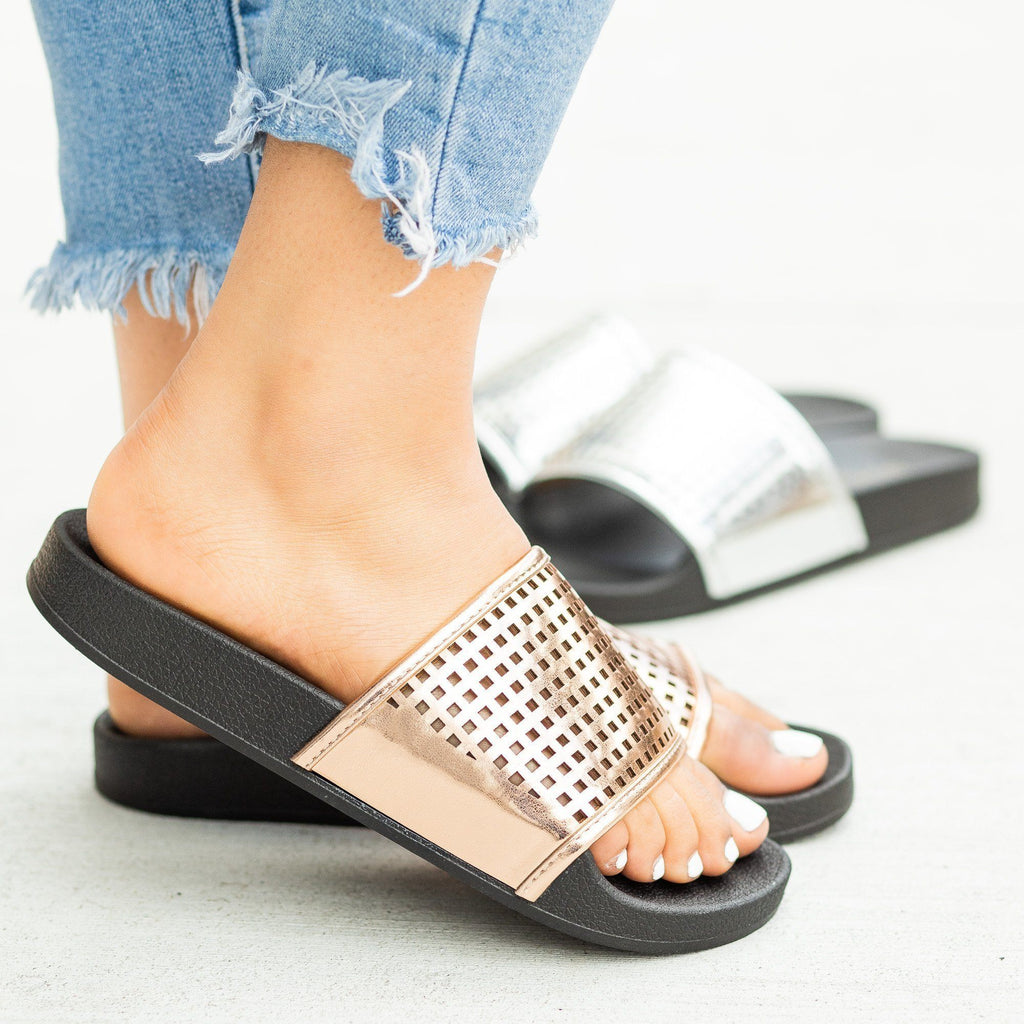 Womens Laser-Cut Metallic Slides - Soho Girls