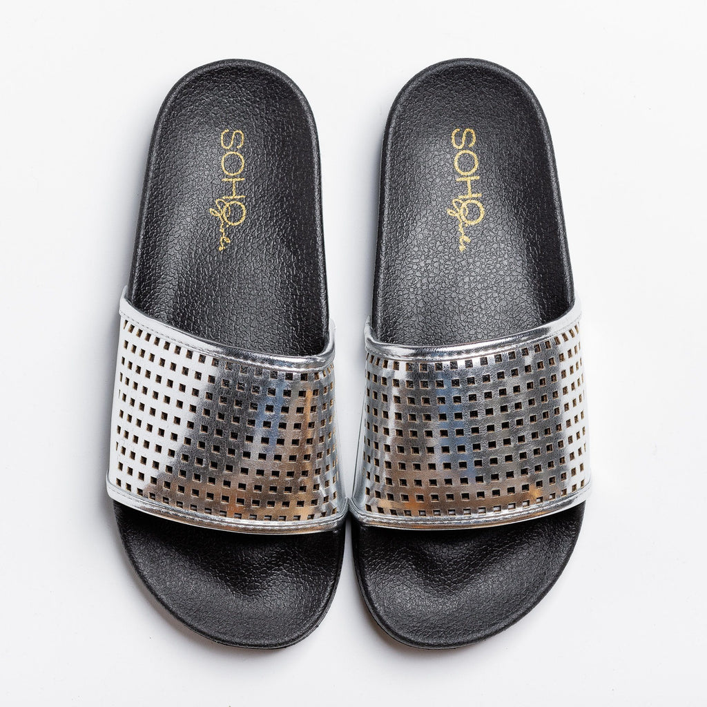 Womens Laser-Cut Metallic Slides - Soho Girls - Silver / 5