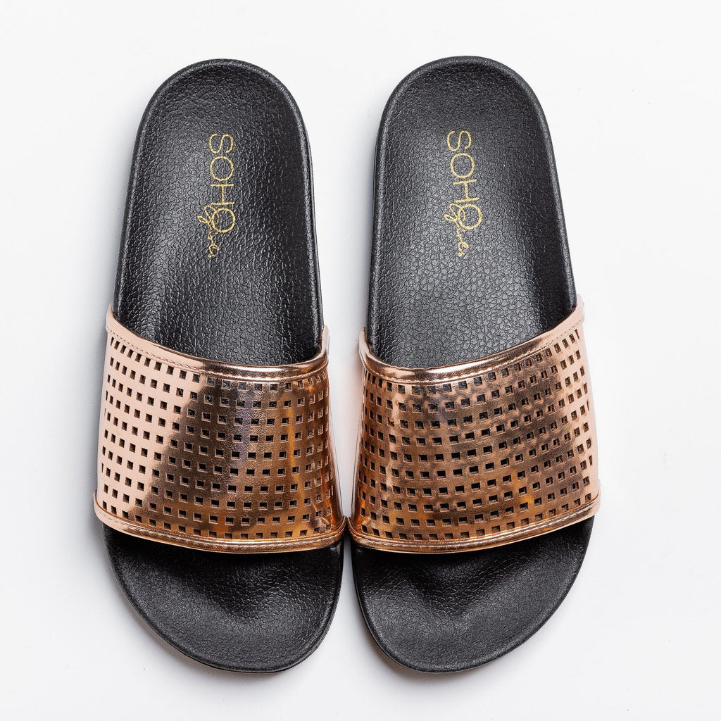 Womens Laser-Cut Metallic Slides - Soho Girls - Rose Gold / 5