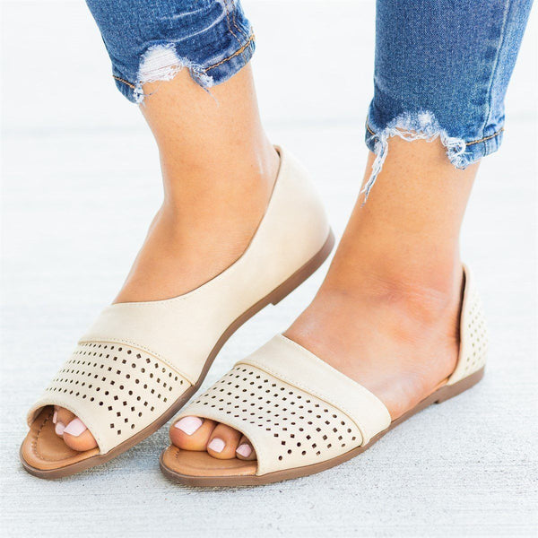 Womens Laser Cut Open-Toe Cutout Flats - AMS Shoes