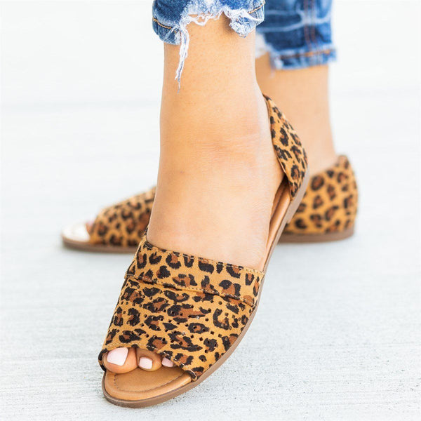 Womens Laser Cut Open-Toe Cutout Flats - AMS Shoes - Leopard / 5