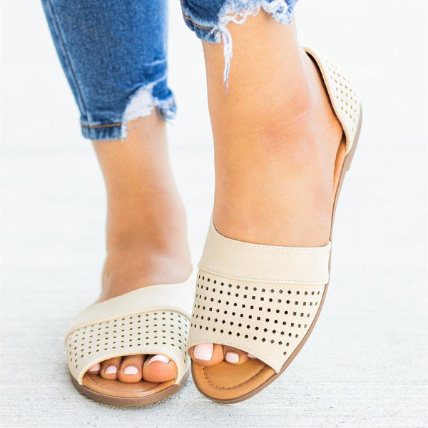 Womens Laser Cut Open-Toe Cutout Flats - AMS Shoes - Apricot / 5