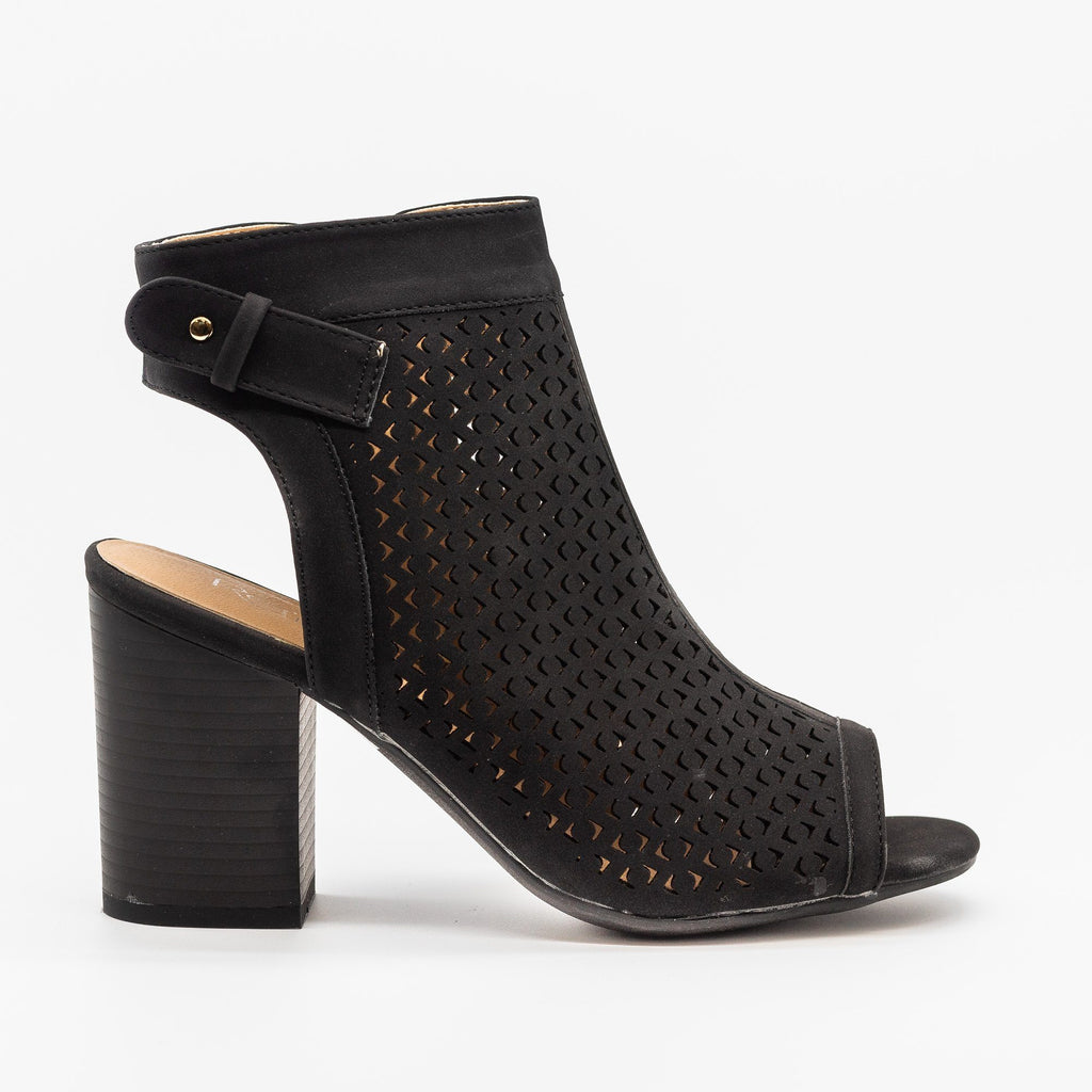 Womens Laser Cut Peep Toe Heel Booties - Refresh - Black / 5