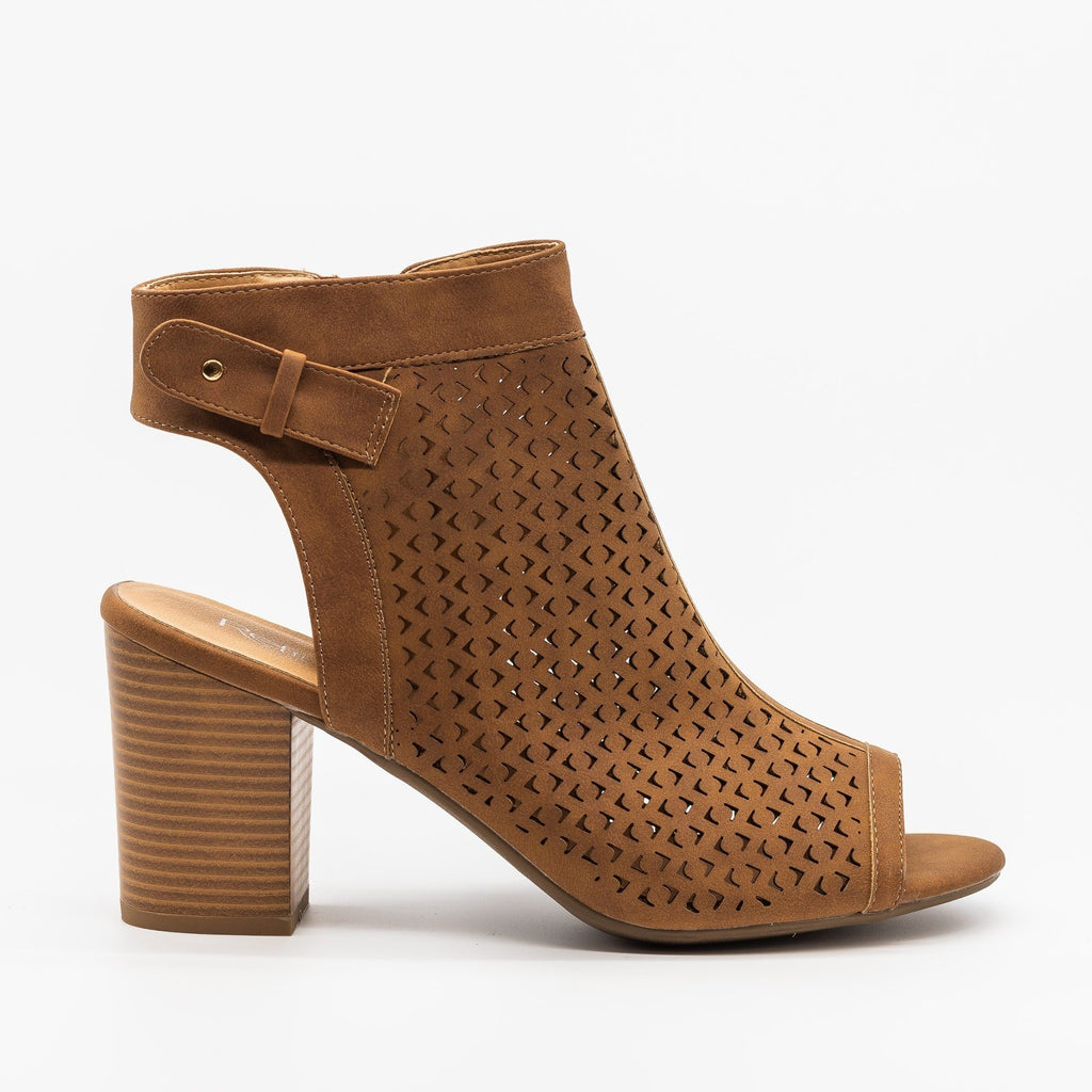Womens Laser Cut Peep Toe Heel Booties - Refresh - Tan / 5