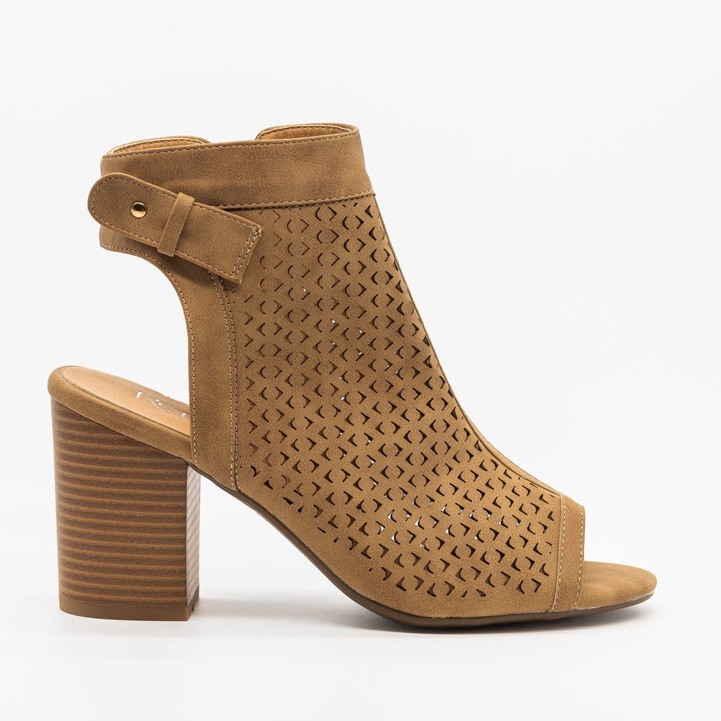 Womens Laser Cut Peep Toe Heel Booties - Refresh - Taupe / 5