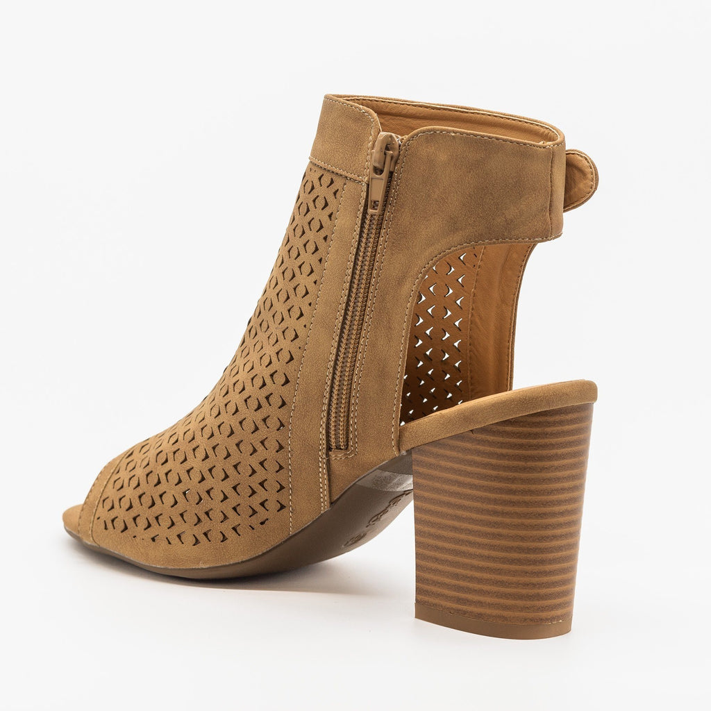Womens Laser Cut Peep Toe Heel Booties - Refresh