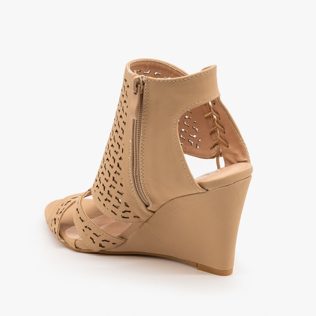 Womens Laser-Cut Sandal Wedges - Forever