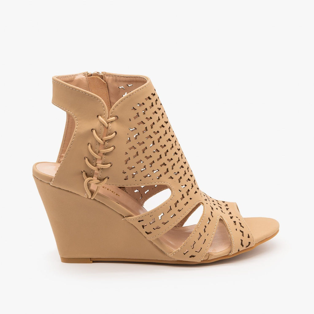 Womens Laser-Cut Sandal Wedges - Forever - Taupe / 5