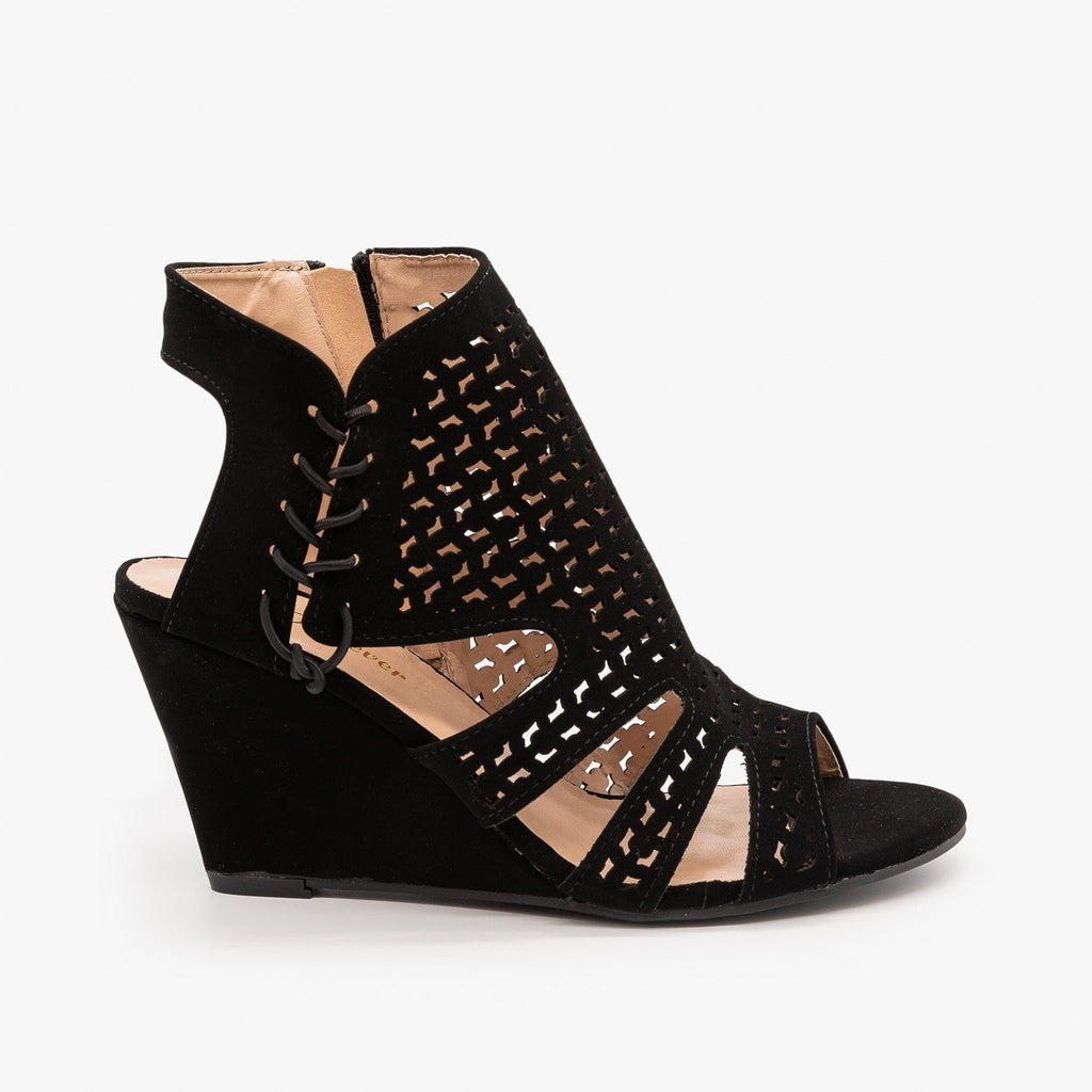 Womens Laser-Cut Sandal Wedges - Forever - Black / 5