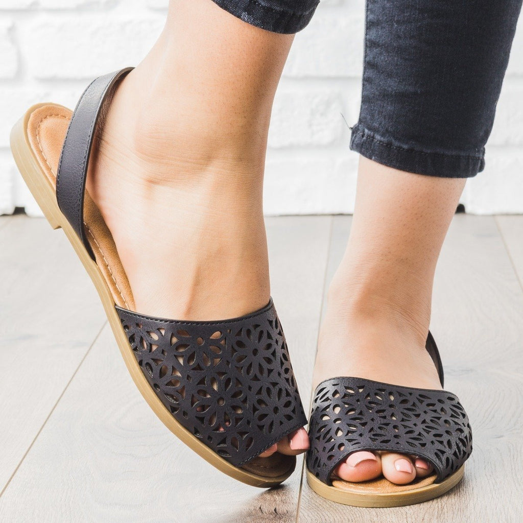 Womens Laser-Cut Sling-Back Sandals - Bamboo Shoes