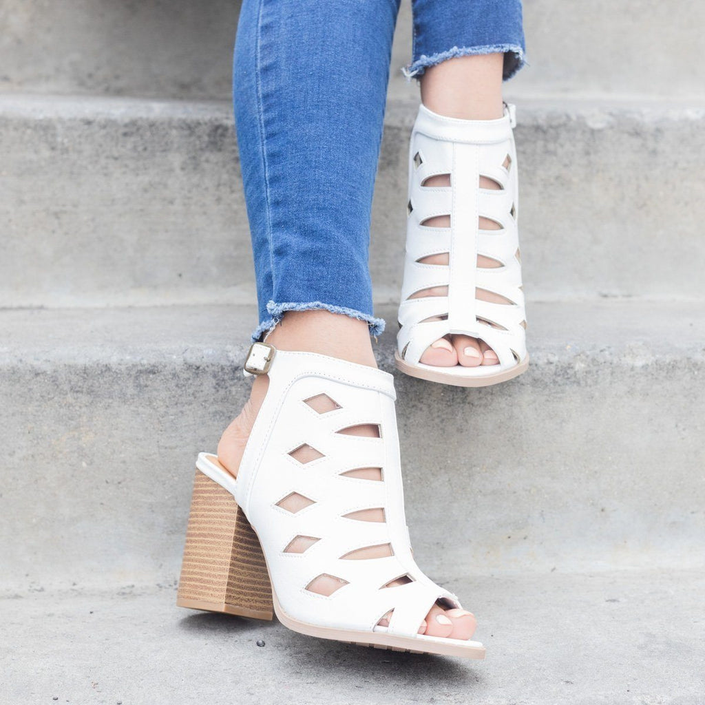 Womens Laser-cut Slingback Chunky Heels - Qupid Shoes