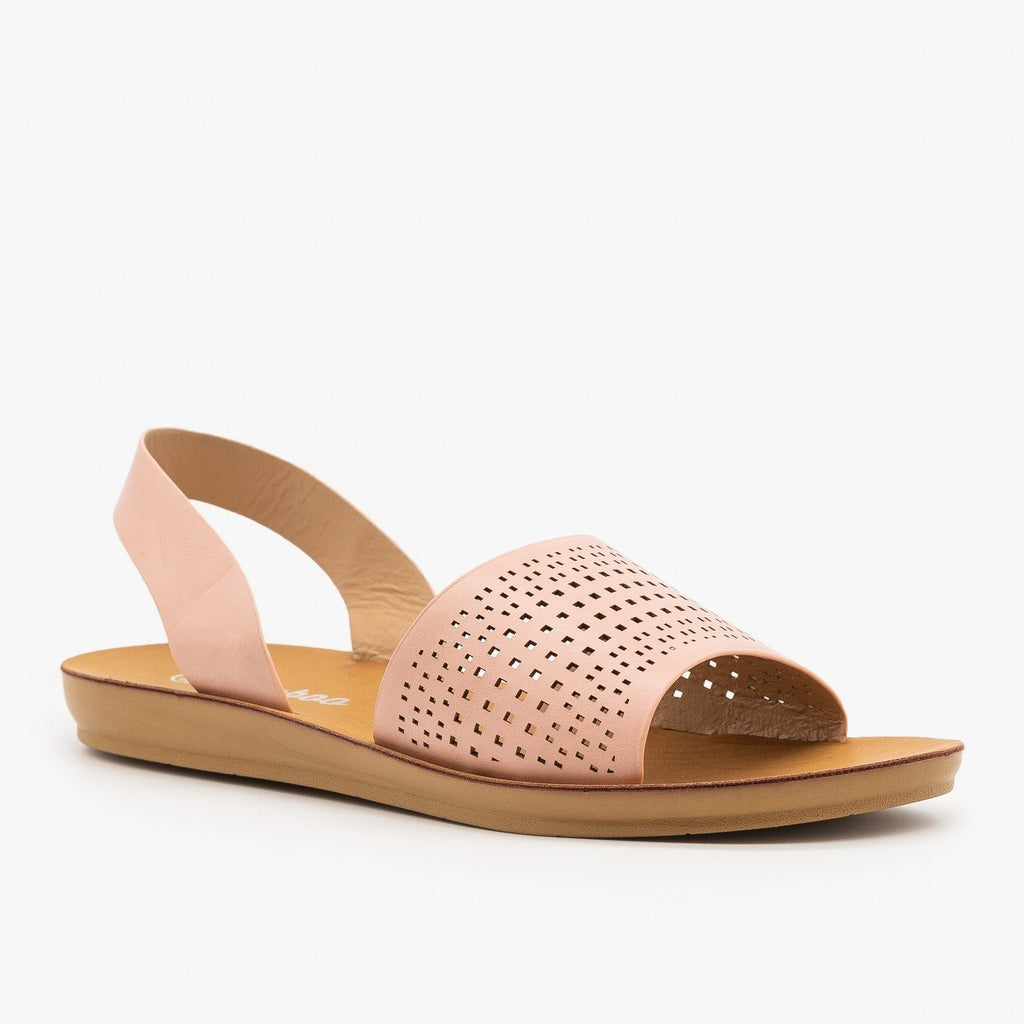 Womens Laser Cut Slingback Sandals - Weeboo - Blush / 5
