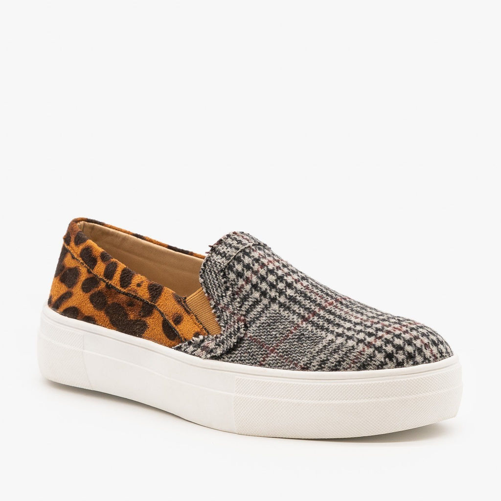 Womens Leopard and Plaid Fashion Sneakers - Mata