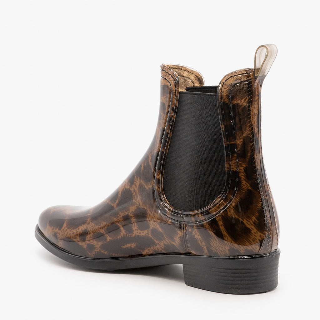 Womens Leopard Chelsea Rain Booties - Forever