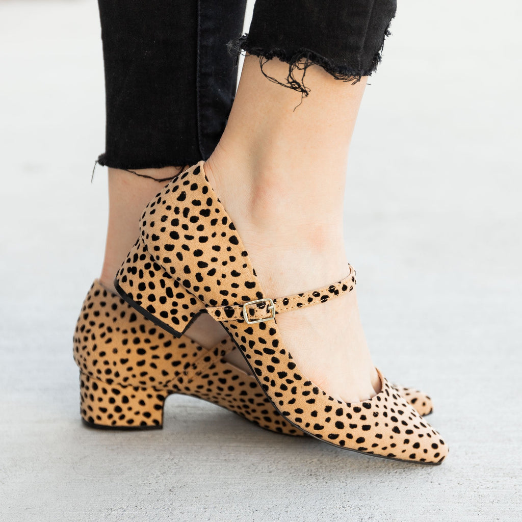Women's Leopard Chunky Heel Pumps - Qupid Shoes