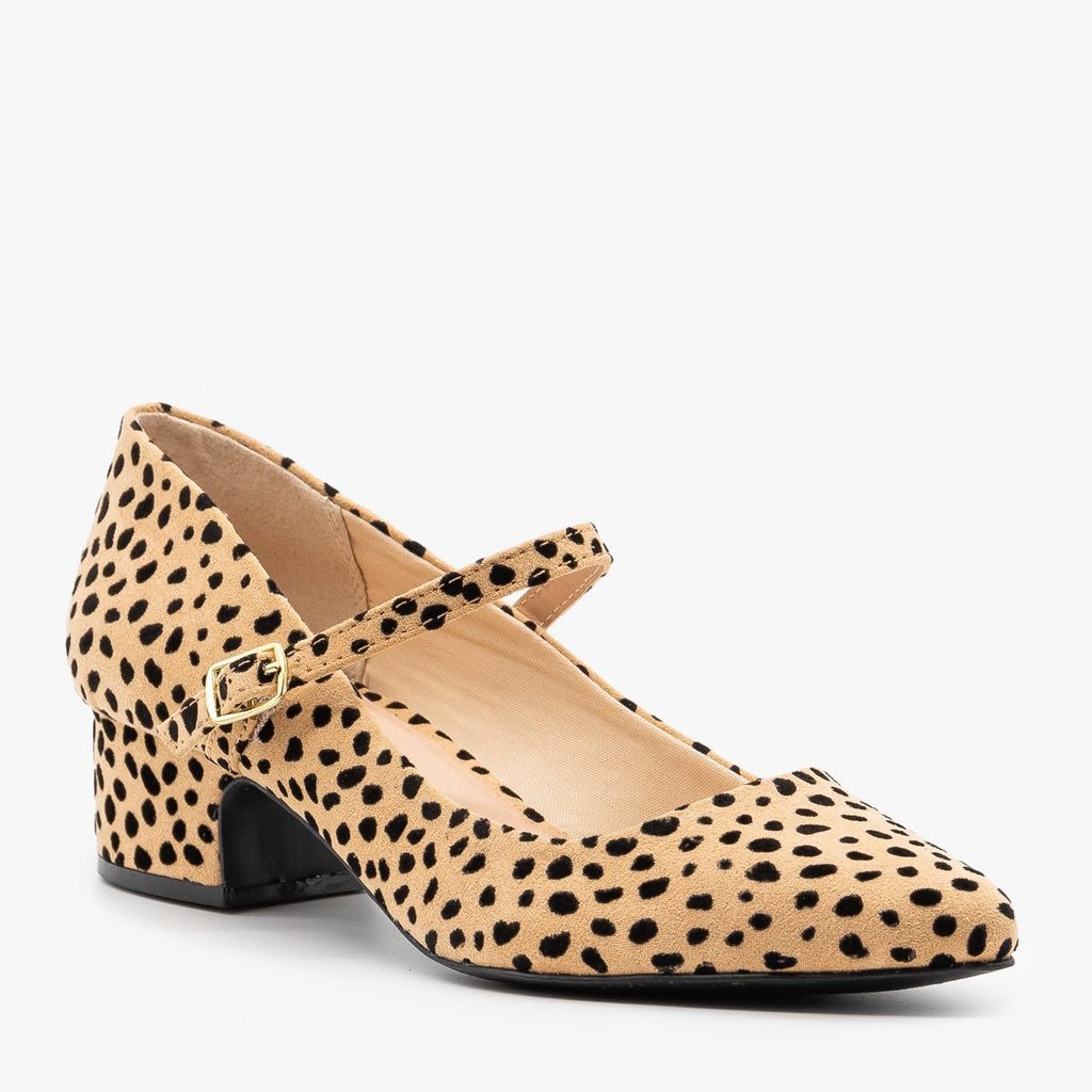 Womens Leopard Chunky Heel Pumps - Qupid Shoes