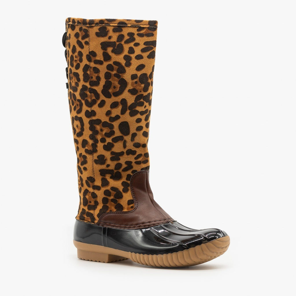 Womens Leopard Fashion Duck Boots - Yoki - Leopard / 5