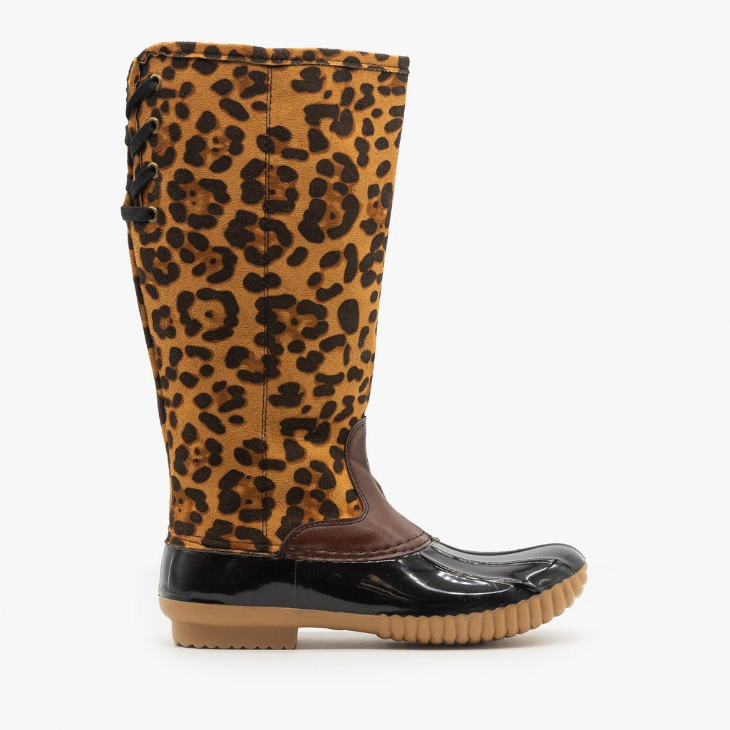 Womens Leopard Fashion Duck Boots - Yoki