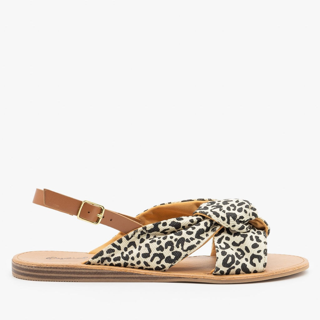 black and leopard sandals