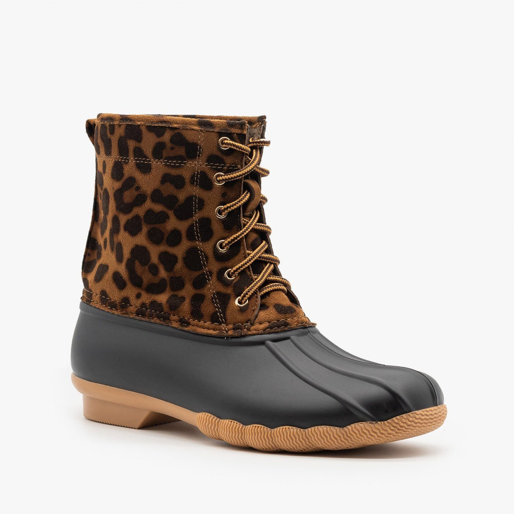 Womens Leopard Lace Up Duck Boots - Top Moda