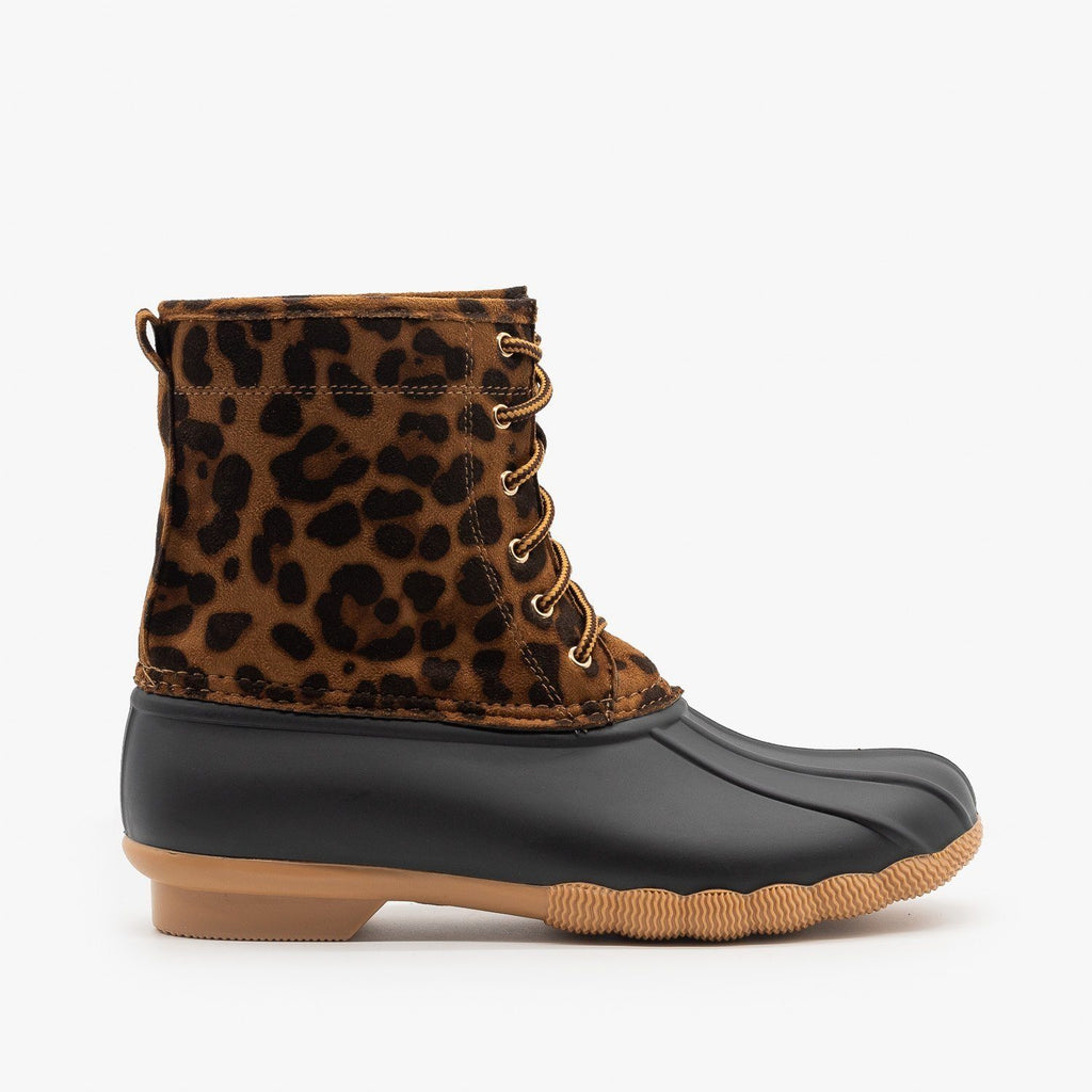Womens Leopard Lace Up Duck Boots - Top Moda - Leopard / 5