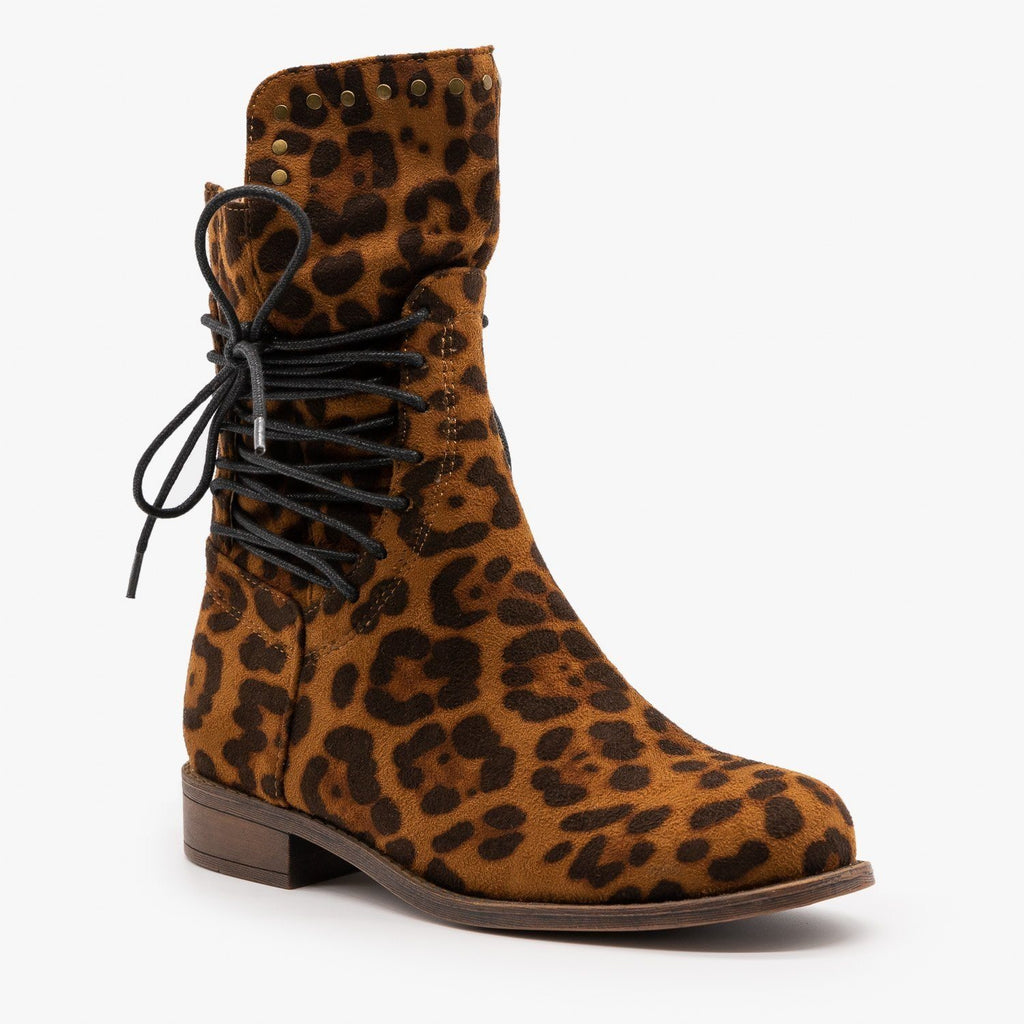Womens Leopard Laced Sides Booties - Mata - Leopard / 5