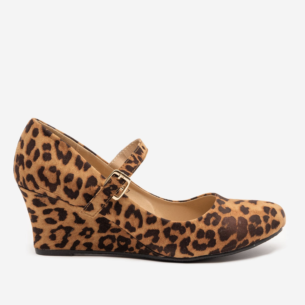 Women's Leopard Mary Jane Wedges - Anna Shoes