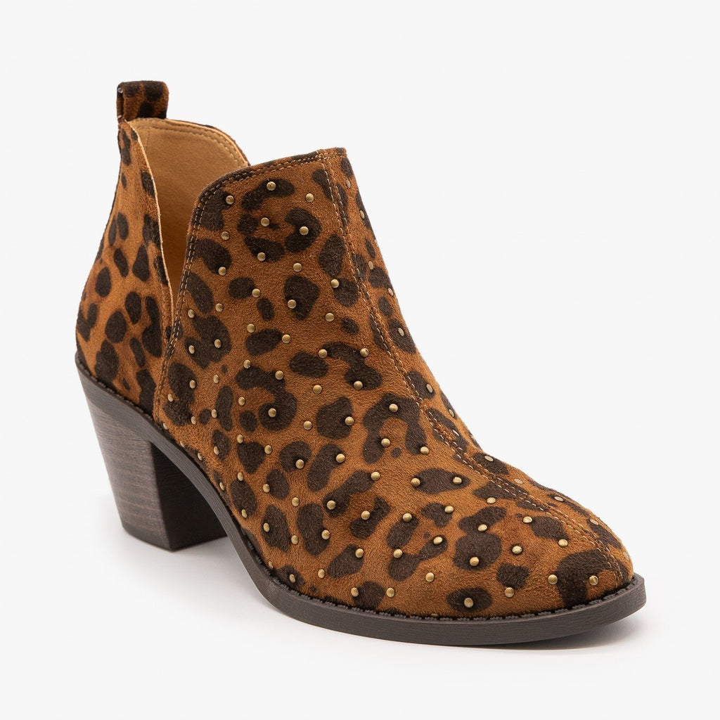 Womens Leopard Metallic Studded Booties - Mata - Leopard / 5