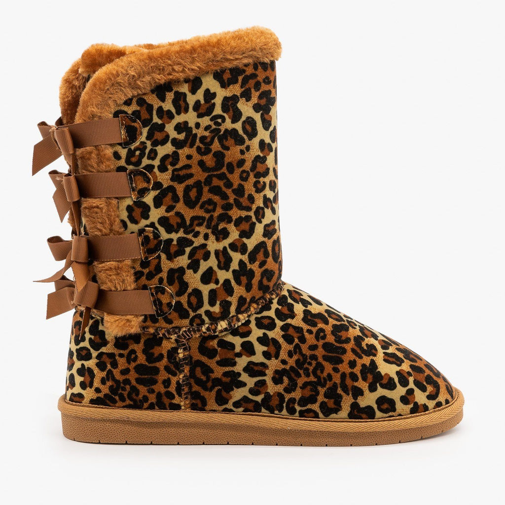 Womens Leopard Print Back Bow Comfort Boots - Forever - Leopard / 5