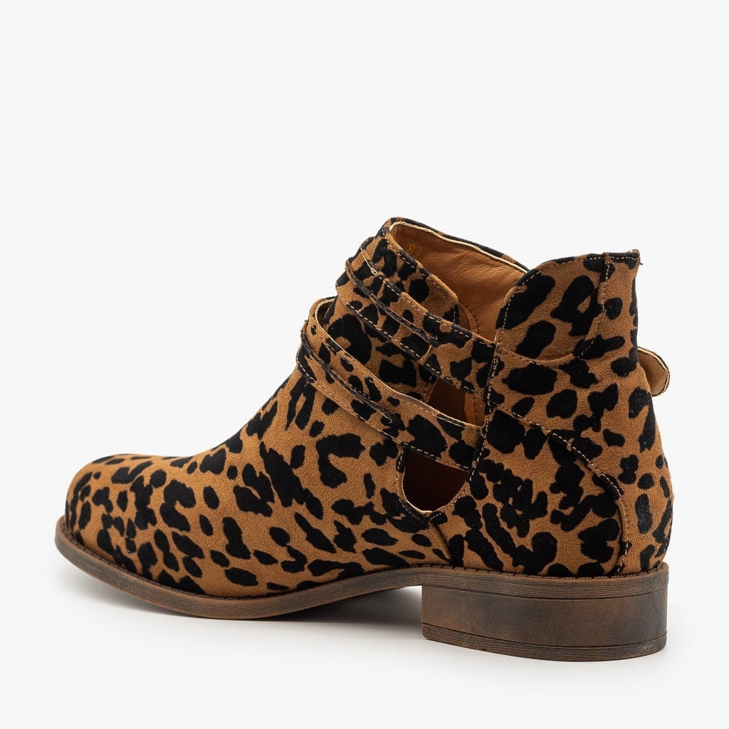Womens Leopard Print Casual Buckled Booties - Mata