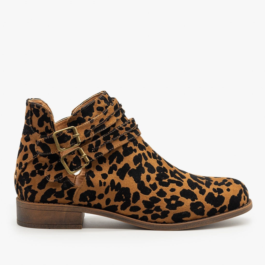 Womens Leopard Print Casual Buckled Booties - Mata - Tiger Leopard / 5