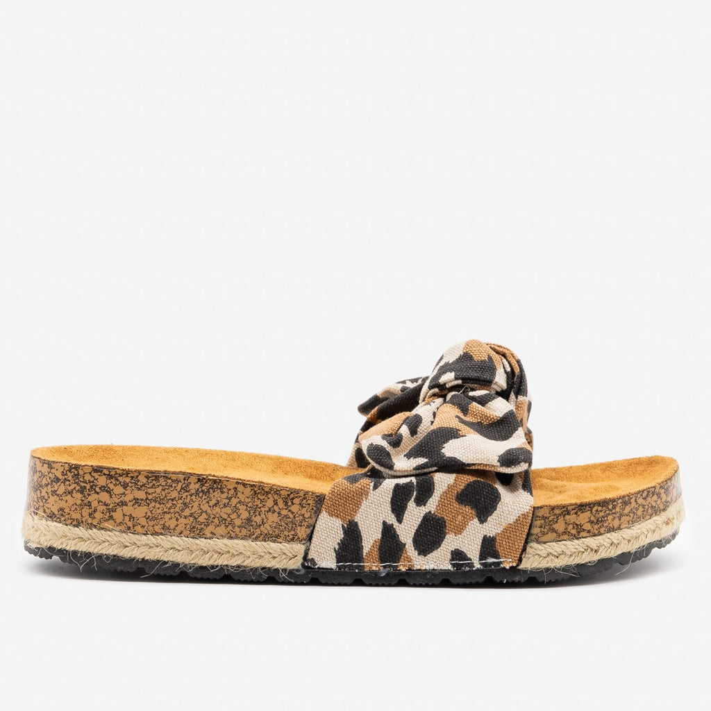 Women's Leopard Print Cork Espadrille Slides - Qupid Shoes - Toffee / 5