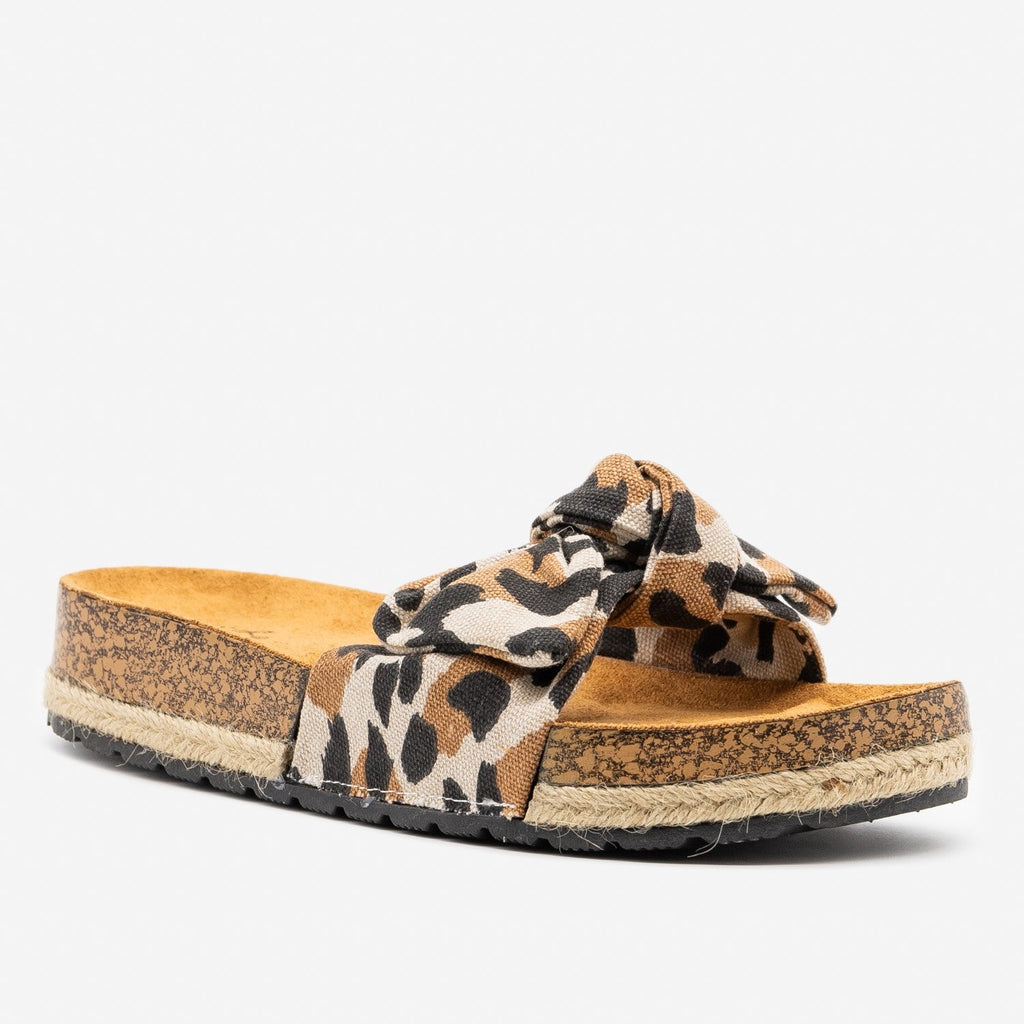 Women's Leopard Print Cork Espadrille Slides - Qupid Shoes