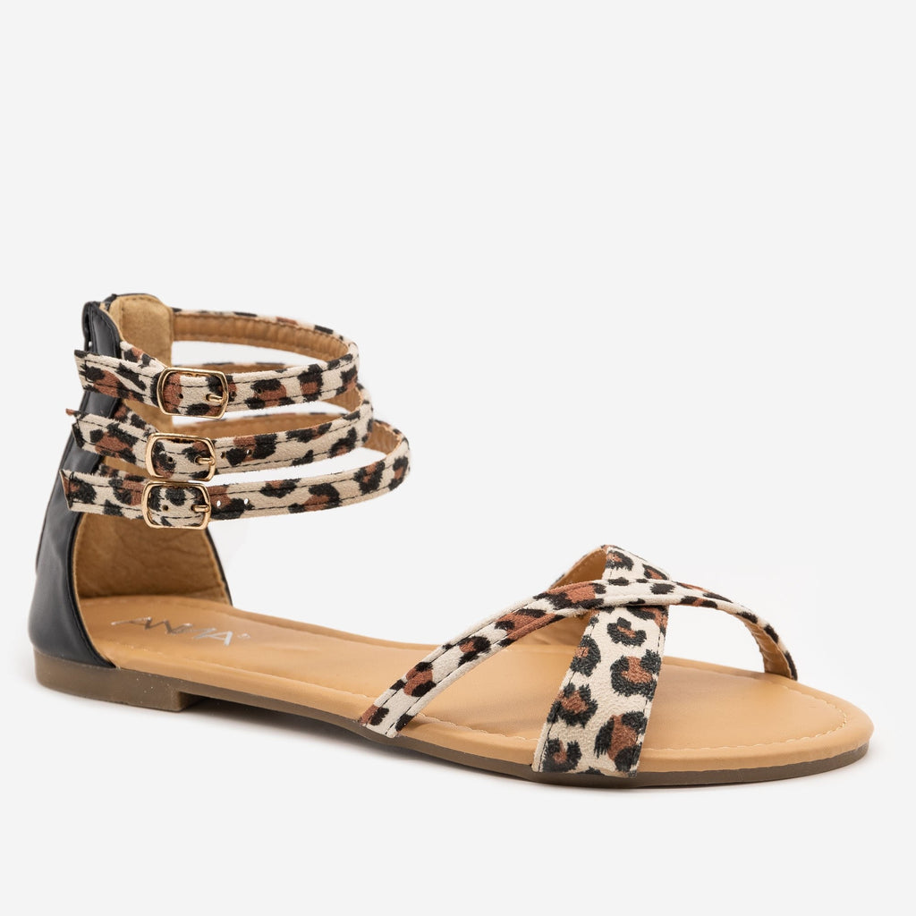 Women's Leopard Print Cuffed Ankle Sandals - Anna Shoes